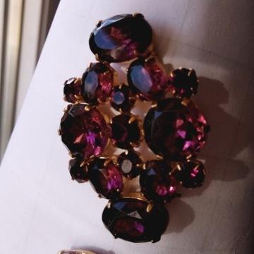 Biżuteria #90 Broszka Szkło Kolor Ametyst