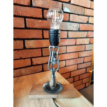 Lampa nocna loft hand made drewno prezent warsztat
