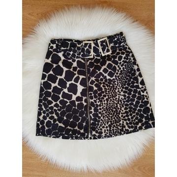 Spódnica mini topshop 34 xs jeans wzór zwierzęcy