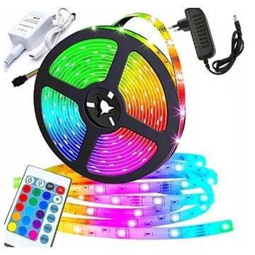 Wodoodporna TAŚMA LED RGB SMD 5M Kolorowa + PILOT