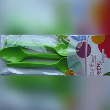 Łyżki plastikowe ZIELONE 6 sztuk