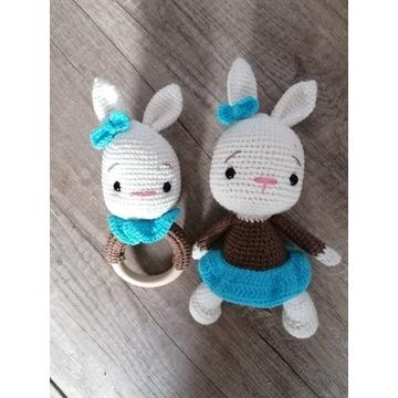 Zestaw Miś króliczek grzechotka gryzak handmade