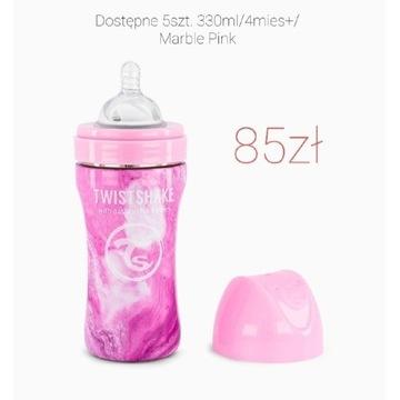 Butelka Twistshake 330ml/4mies+/Marble Pink