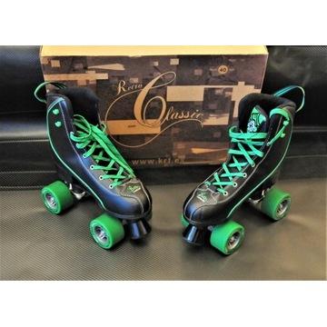 Wrotki KRF Retro Classic negro-verde 40