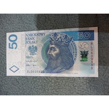 Banknot 50 zł ciekawy numer