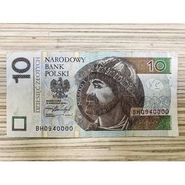 Banknot 10 zł, ciekawy nr z serii BH0940000