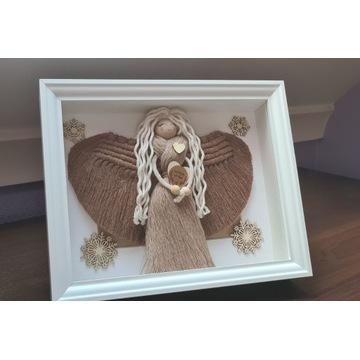Anioł w ramce, makrama BOHO dekoracje, prezent