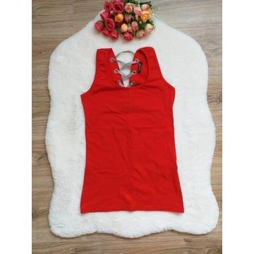Czerwona bluzka ze sznurowaniem na plecach XS/S