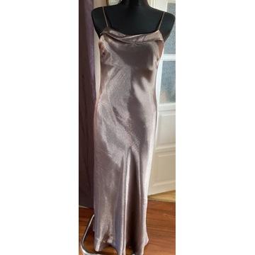 Suknia długa z tafty bardzo elegancka  złota