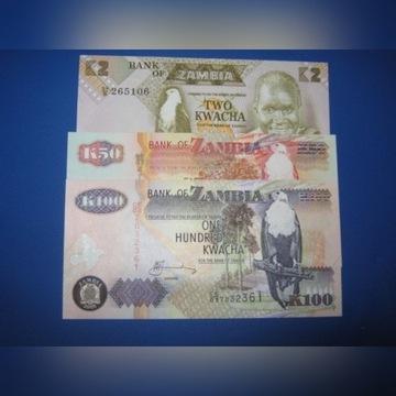 ZAMBIA- zestaw banknotów 2,50,100,Kwacha- UNC