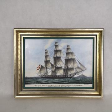Bing&Grondahl Denmark obraz porcelanowy statek