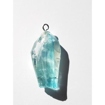 naszyjnik kryształ kwarc niebieski wisior