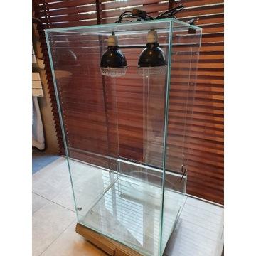 Terrarium 100x50x50 z 2 lampami dla gadów +osprzęt
