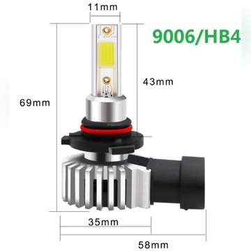 Żarówka LED HB4 6000K mijania przeciwmgielne