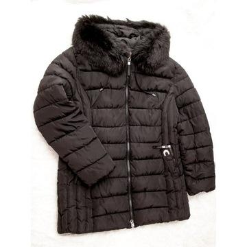Kurtka puchowa zimowa czarna plus size 48, 50