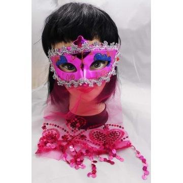 Różowa Maska z Woalką ARABSKA KSIĘŻNICZKA