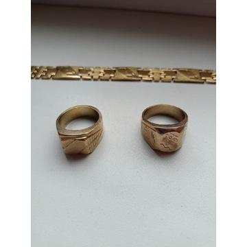 Dwa Złote Sygnety i łańcuszek (Tombak)