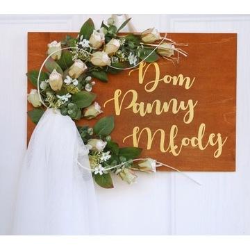 Wianek, tablica na drzwi Dom Panny Młodej