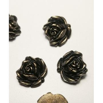 Guzik guziki róża róże metalowe 6 sztuk
