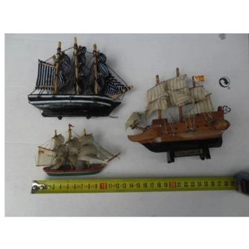 3 x modele Żaglowców-statki,Maszty