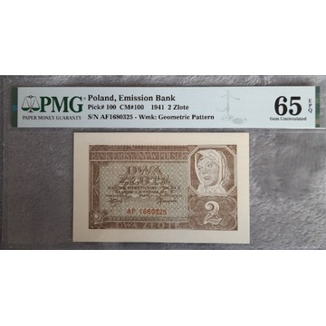 2 złote 1941 PMG 65 EPQ  Piękne!!!