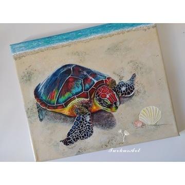 Obraz Tęczowy Żółwik - akryl na płótnie, 30x25cm