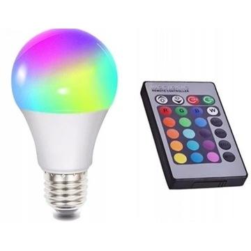ŻARÓWKA LED RGB 16 KOLORÓW! E27 3W + PILOT