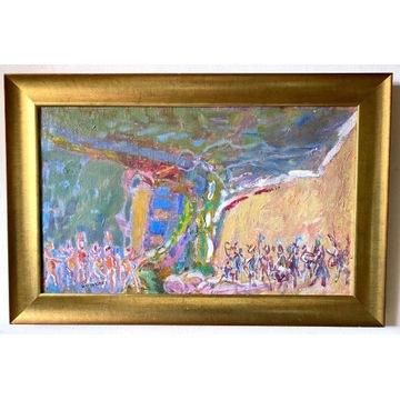 Jan Wodyński, Scena batalistyczna, olej, z aukcji