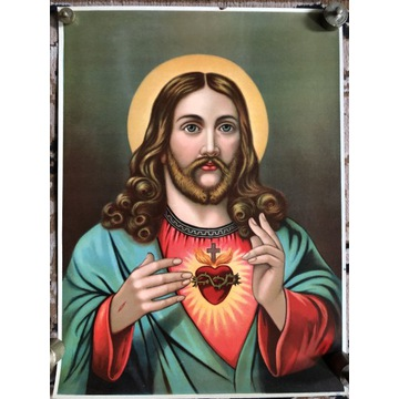 Przedwojenny oleodruk - kolor - Serce Pana Jezusa