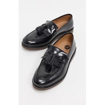 Czarne loafersy, mokasyny ASOS H by Hudson 40 25.7