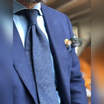 Krawat Poszetka com - wełna nakrapiana, granat
