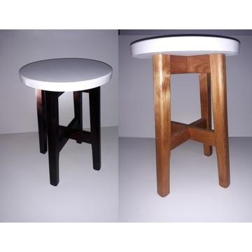 Taboret drewniany (sosna) biały+6 kolorów-stołek