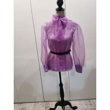 Bluzka Zara liliowa wiązana Tiulowa XS 34
