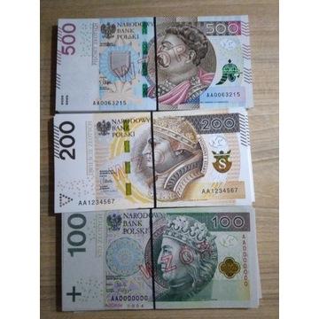 Banknoty 150szt PL WZÓR SPECIMEN rekwizyty filmowe