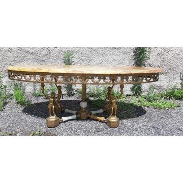 Piękny francuski stolik kawowy z onyxem