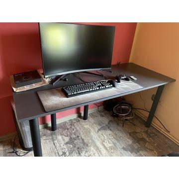 Biurko komputerowe gamingowe LED szary grafit