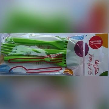Widelce plastikowe ZIELONE 6 sztuk