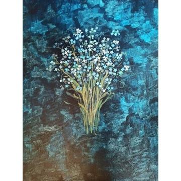 Obraz akryl na płótnie 40x40 kwiaty niebieskim tle