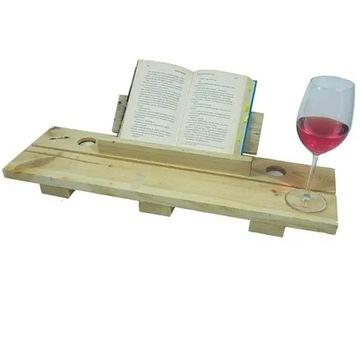 DREWNIANA  Półka łazienkowa na wannę, na książkę