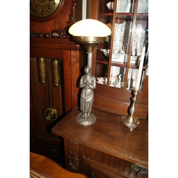 Figuralna stara duża metalowa lampa   SYGNOWANA