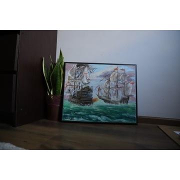 Żaglowce w akcji- ręcznie malowany obraz AKRYL