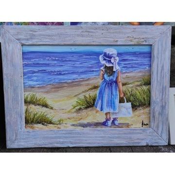 L'ARTE Obraz dziewczynka na plaży 40x60