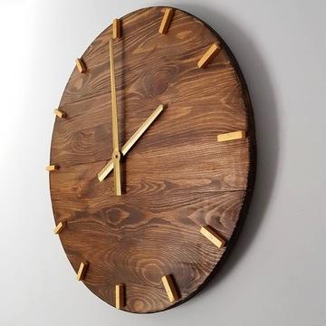 DiO Zegar ścienny z drewna duży handmade złoty