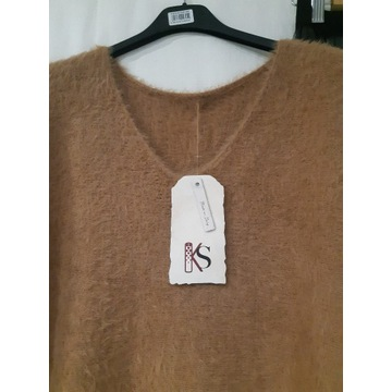 Włoski sweter alpaka, camel
