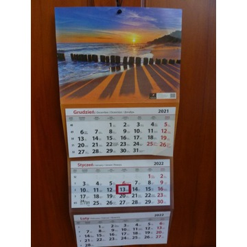 Kalendarz 2022 TRÓJDZIELNY ścienny plaża zachód