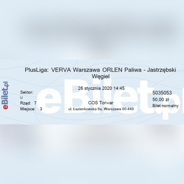 Bilety Verva Jastrzębski  26.01 dobre miejsca.