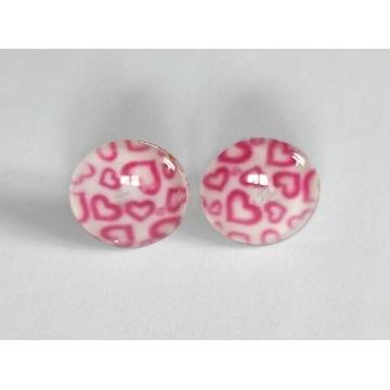 Kolczyki różowe serduszka okrągłe z serduszkami