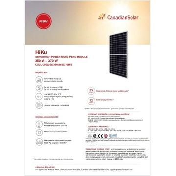 Canadian Solar 370 W panele fotowoltaiczne HIGH PO
