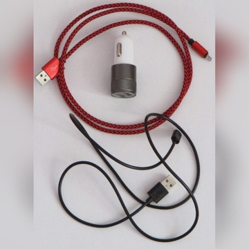 Ładowarka samochodowa + 2 kable usb