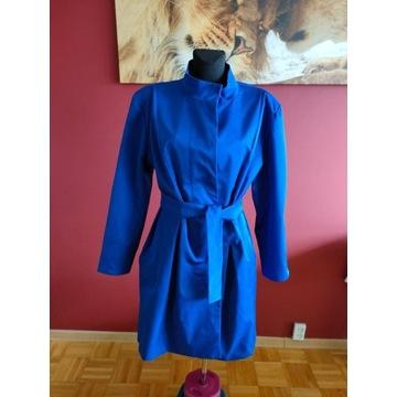 Chabrowy płaszcz z paskiem XXL